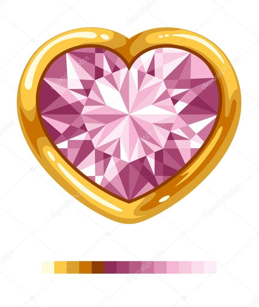 corazón de diamante en marco dorado — Archivo Imágenes Vectoriales ...