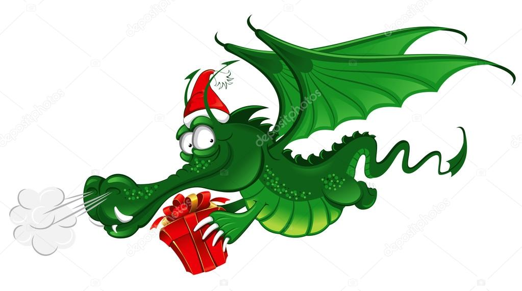 new year 2012 : Cheerful Dragon with a large christmas gift
