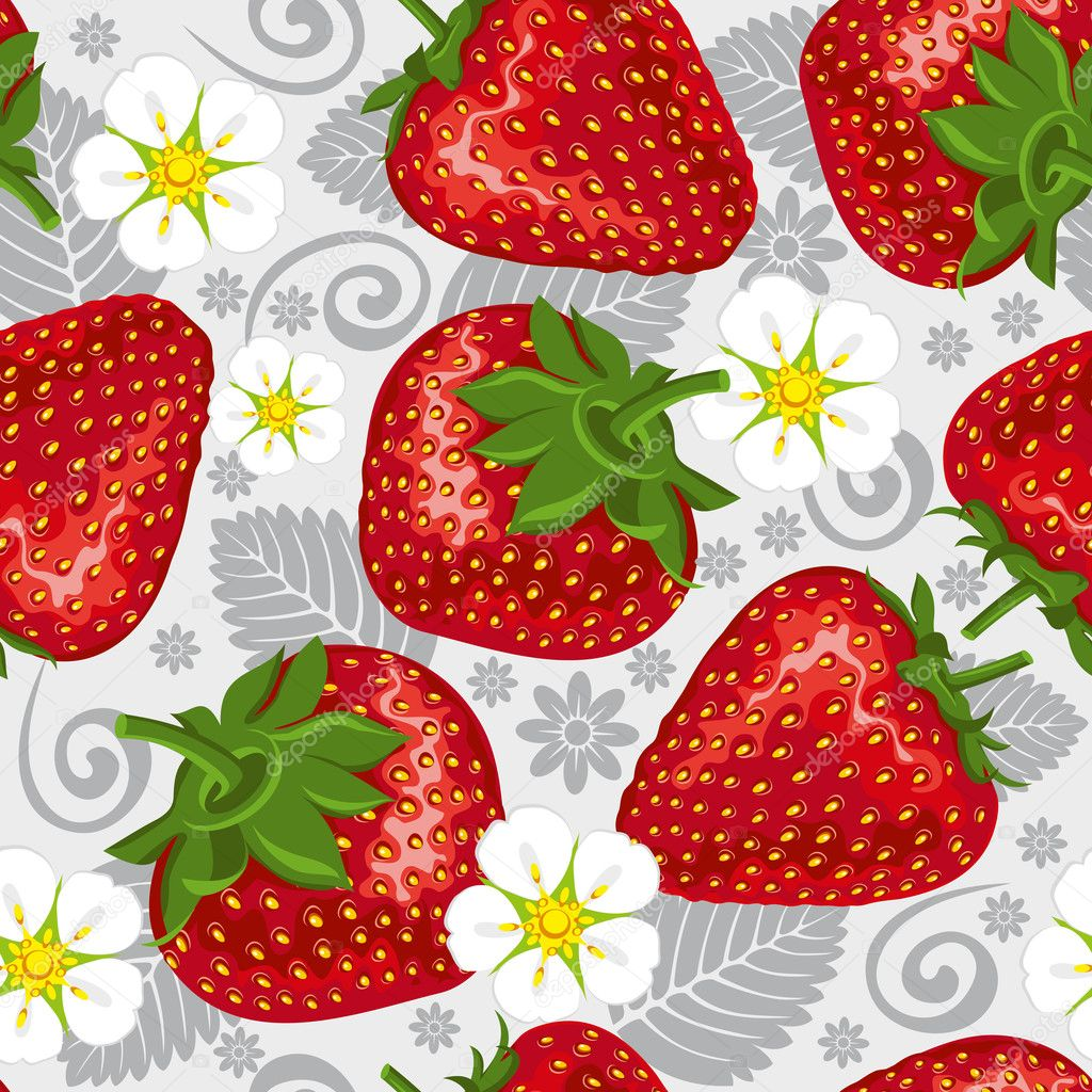 Excellent seamless pattern with strawberry