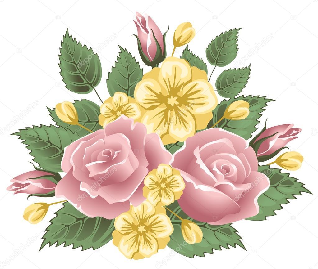 Ramo De Flores Vintage Archivo Imagenes Vectoriales C Pazhyna