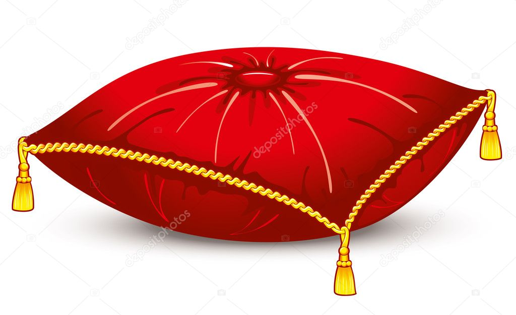 Red Satin Pillow With Gold Tassels Stock Vector