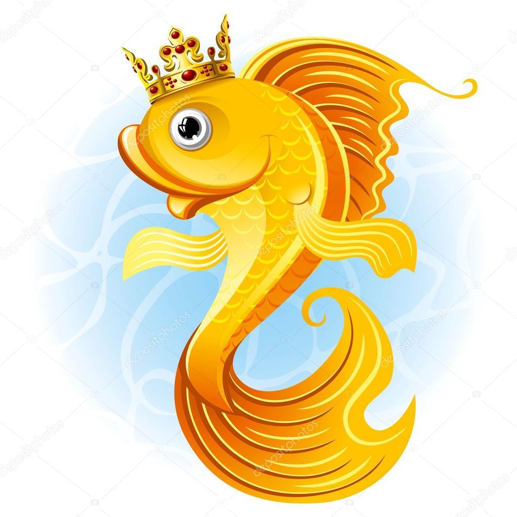 Золотая рыбка мультяшка. Волшебный золотой рыбки ...