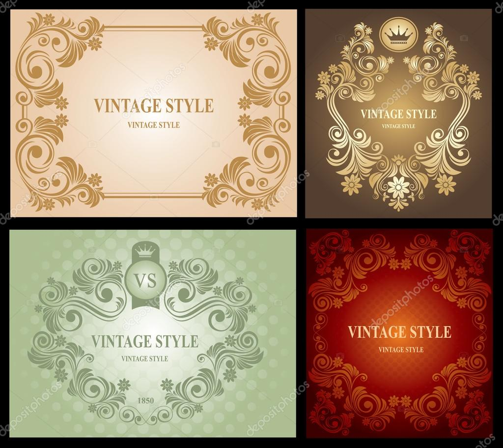 conjunto de marco flores vintage — Vector de stock © Pazhyna #16787723