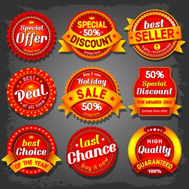Set of luxury vector sale labels. clip art vector