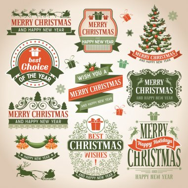 Christmas collection of design elements. clip art vector