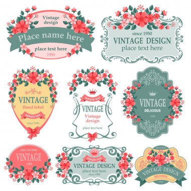 Vector set. Vintage labels with flowers. clip art vector