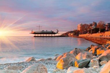 Sunrise on the seaside promenade