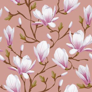 Retro flower seamless pattern - magnolia. Vector. Easy to edit. clip art vector