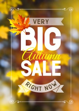 Advertisement about the autumn sale on defocused background with leaves. Vector illustration. stock vector