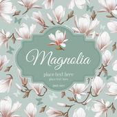 retro flower karta magnolia