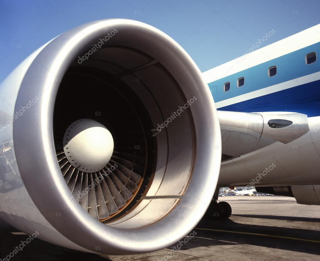 A large fanjet jet engine on a commercial passenger aircraft. The fanjet or turbofan is a type of air breathing jet engine that is widely used for aircraft propulsion.