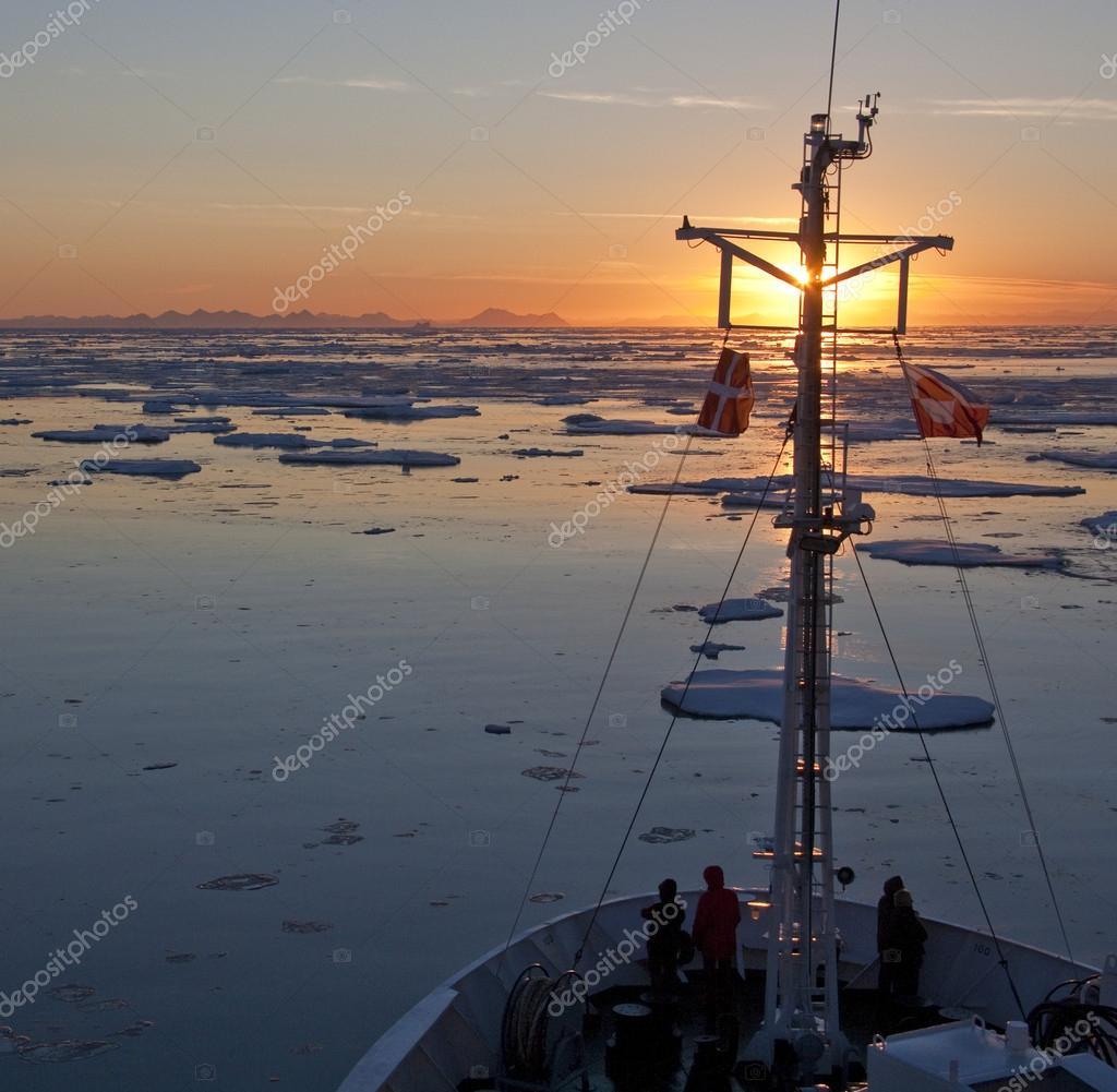Midnight Sun in the Arctic Ocean