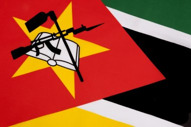 Detail on the flag of Mozambique