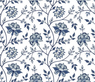 Blue chintz pattern with carnation on the white background