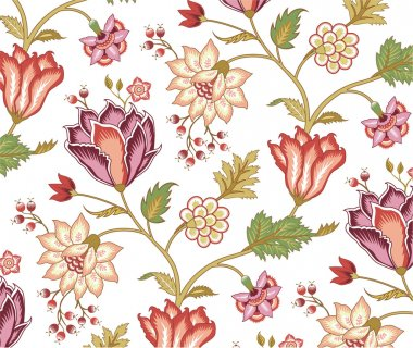 Chintz pattern with tulip on the white background