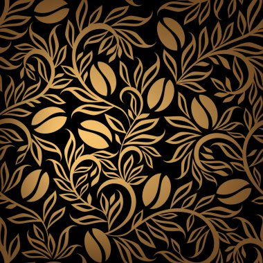 Coffee beans gold pattern