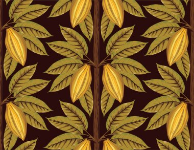 Vintage cocoa tree with beans and leaves pattern