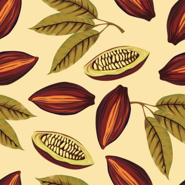 Cocoa beans vintage pattern