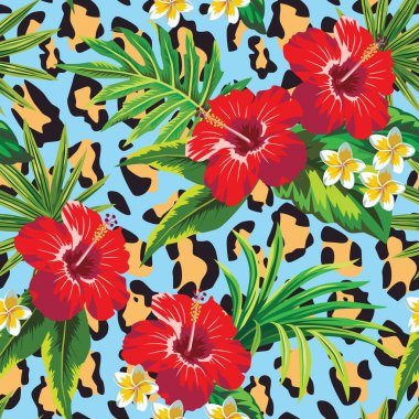 Tropical floral pattern and animal print