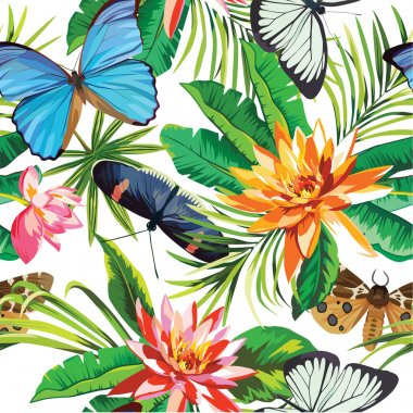 Tropical flowers and butterflies pattern