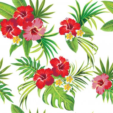 Hibiscus and palm leaves floral tropical pattern