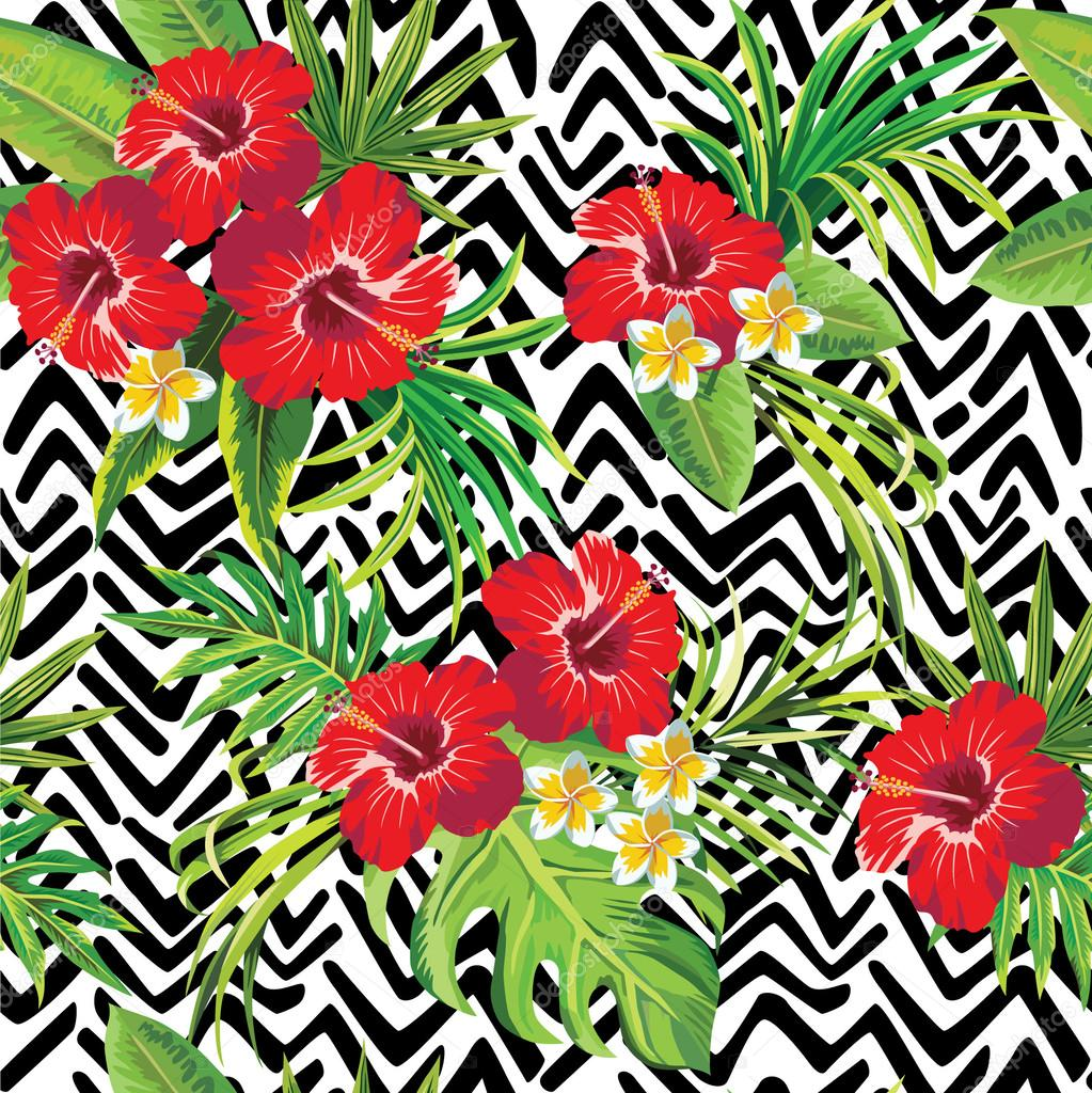 Hibiscus and palm leaves tropical pattern, zigzag background