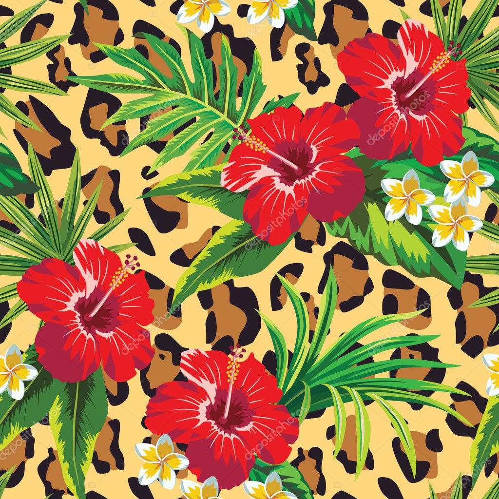 Hibiscus and plumeria tropical flowers with palm leaves, animal background
