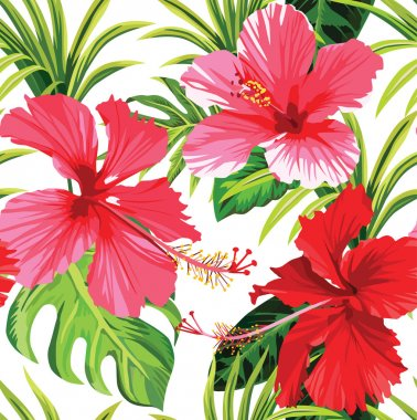 Hibiscus and palm leaves tropical floral pattern