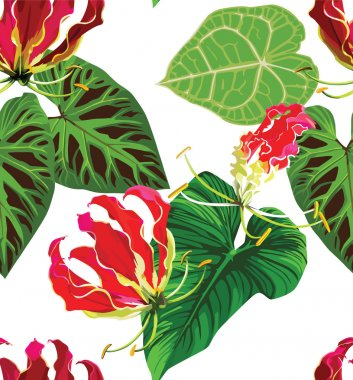 Gloriosa and palm leaves tropical floral pattern