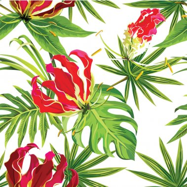 Gloriosa exotic tropical flowers and palm leaves pattern