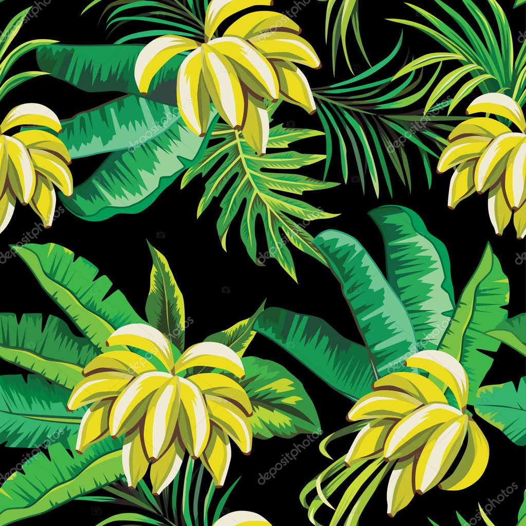 Bananas and palm leaves tropical pattern