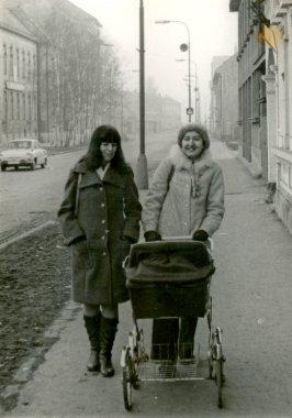 """Картина, постер, плакат, фотообои """"друзья - две молодые женщины с детской коляской """", артикул 28164189"""