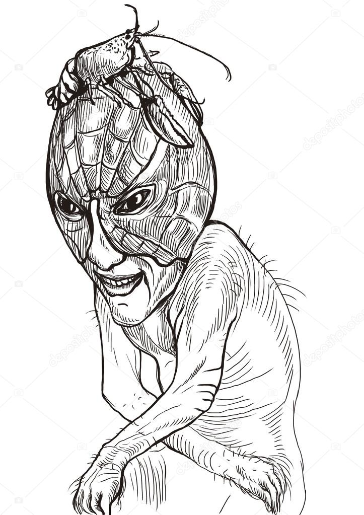 Scary Monster Drawing Scary Sad Monster Stock Photo C Kuco 30312953
