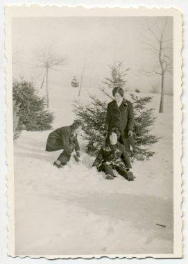 """Картина, постер, плакат, фотообои """"девушки, позирующие и играющие в зимнем пейзаже """", артикул 36674629"""