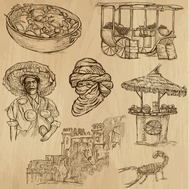 Travel : MOROCCO set no.1. Collection of hand drawn illustrations. Each drawing comprises two or three layers of outlines, the colored background is isolated. clip art vector