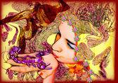 Fotografia il bacio - una ragazza e lo Scorpione