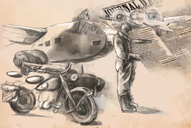 At the airport - a soldier on a motorcycle between aircraft. Vec