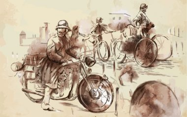 Soldiers on bicycles and a soldier on a motorcycle. Vector.