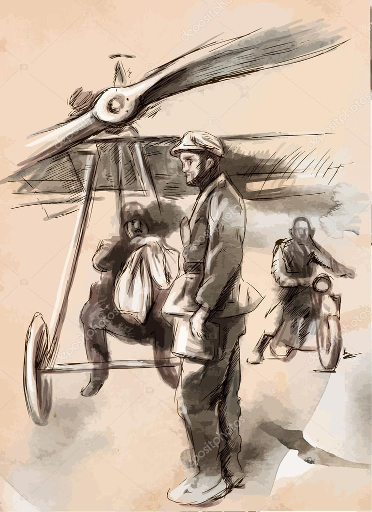 At the airport - Postal plane with a pilot and soldier. Vector.