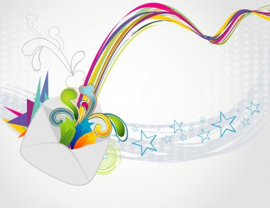 Abstract vector illustration of an email symbol over white