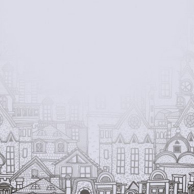 Misty background with old town