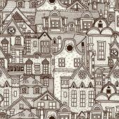 Kézzel rajzolt varrat nélküli mintát, a régi város