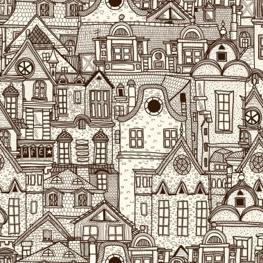 Hand-drawn seamless pattern with old town clip art vector