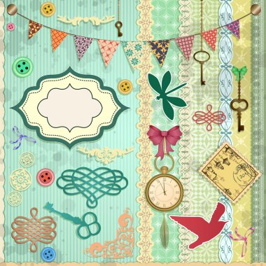 Vector scrap booking set.