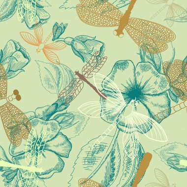 Flower seamless pattern with dragonflies