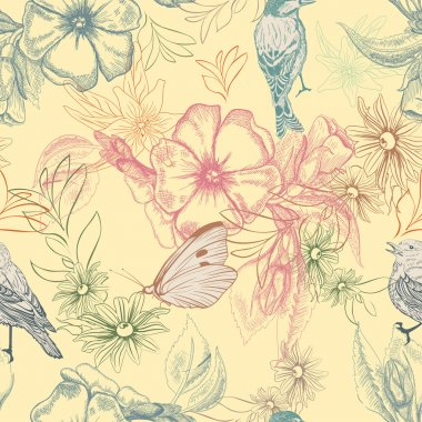 Spring pattern with butterflies and birds on apple flowers,