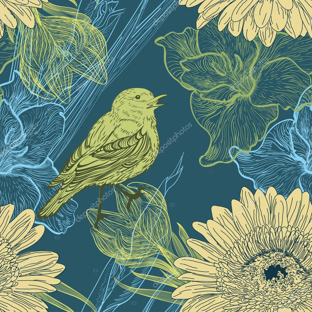 Seamless background with handdrawn birds and flowers