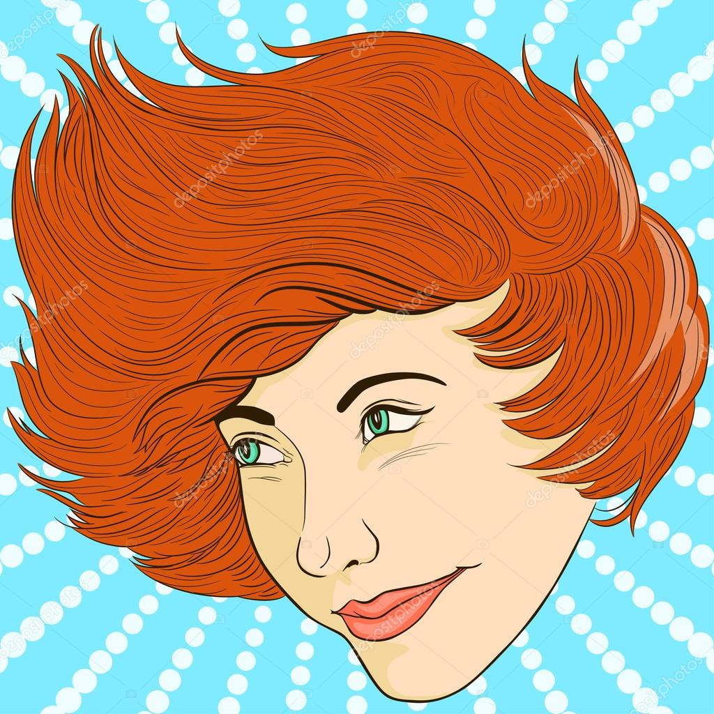Smiling girl face in retro style