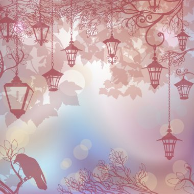 Delicate background background with tree branches and lanterns