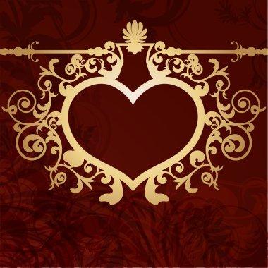 Vintage valentine background with golden heart frame